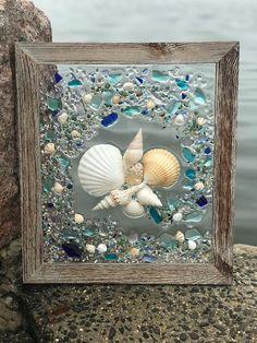 Beach Glass and Starfish in Frame Beach Glass Wave #artsandcraftssurely,