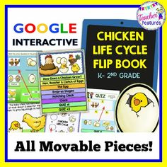 Movable Pieces-Google Classroom: This 11 slide resource contains activities focused on the life cycle of a chicken  and integrates science and language arts. It is perfect for grades K-2!