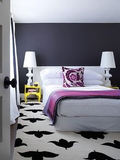 fun bedroom. Deep purple and white, graphic print, purple white a pink color scheme.