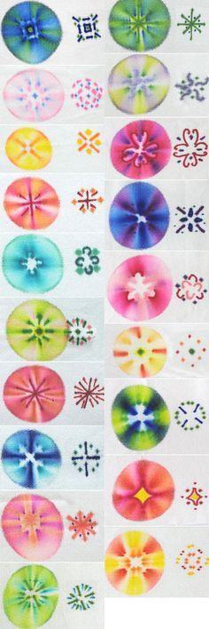 Puntos con sharpies y luego una o dos gotitas de agua oxigenada volumen 40 o mas ...fabric designed using sharpies: patterns
