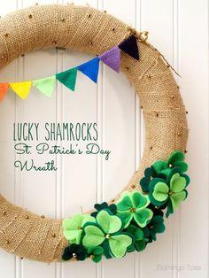 Lucky Shamrocks St Patricks Day Wreath