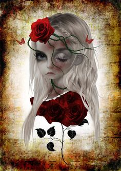Wild Rose Gothic Art Print Goth Girl by HarrietsImaginations, $17.00