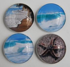 Glass magnet beach theme set  starfish and sea by NewCreatioNZ, $16.00