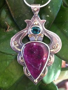 One of a kind Ruby and Indicolite, 22k Gold and Sterling Silver www.melissacaron.com
