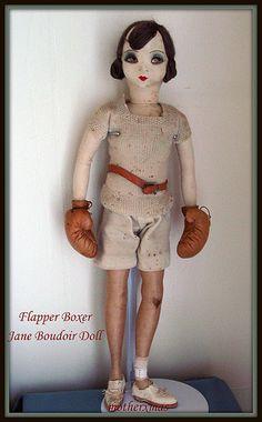 Boudoir Doll    SignedJane boxer boudoir doll. She is all original. An  interesting  1920's  sports  doll.