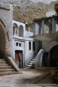 Christmas Cave, Christmas Pageant, Christmas Nativity Scene, Miniature Rooms, Miniature Houses, Navity Scene, Nativity House, Mud House, Old Brick Wall