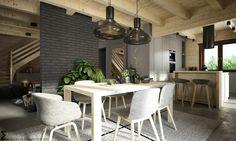 Drewniany sufit i szare cegły w jadalni