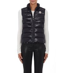 Moncler Women's Down-Quilted Vest ($540) ❤ liked on Polyvore featuring outerwear, vests, black, moncler, vest waistcoat, quilted zip vest, zipper vest and quilted vest