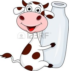 Illustration of Cow holding milk bottle vector art, clipart and stock vectors. Funny Cow Pictures, Cow Logo, Cow Craft, Cow Tattoo, Bottle Drawing, Drawing School, Cow Pattern, Sticker Shop, Painting Patterns