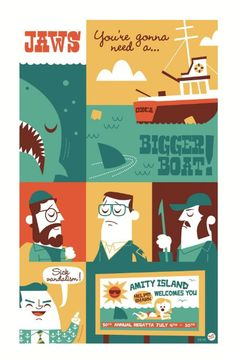 Dave Perillo 'Jaws, You're Gonna Need A Bigger Boat' Print Monty Python, Taxi Driver, Jaws Movie Poster, Cool Pops, Show Me The Way, Alternative Movie Posters, Retro Illustration, About Time Movie, Star Wars