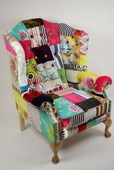 PATCHWORK CHAIR! I really kinda like this, esp. for a kid's room or somewhere you want some whimsy.