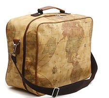 map luggage | Squre World Map Luggage Shoulder Travel Duffle Weekender Bag Brown ...