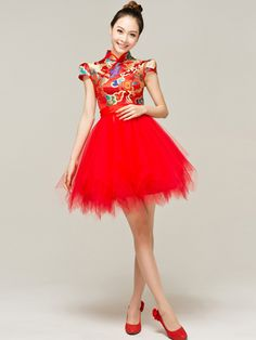 Short Tiered Qipao / Cheongsam / Chinese Wedding / Evening Dressy for rehearsal