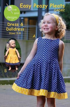 Olive Ann Designs Easy Peazy Pleats Dress & Doll Dress Pattern - top is all pleated Outfits Niños, Kids Outfits, Little Girl Dresses, Girls Dresses, Doll Dress Patterns, Vestidos Vintage, Toddler Dress, Baby Sewing, Kind Mode