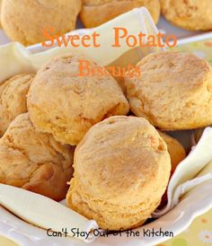 Potato Biscuits Sweet Potato Biscuits - love this great Paula Deen recipe. via Can't Stay Out of the KitchenSweet Potato Biscuits - love this great Paula Deen recipe. via Can't Stay Out of the Kitchen Sweet Potato Biscuits, Sweet Potato Recipes, Buttermilk Biscuits, Donuts, Yummy Food, Tasty, Glass Baking Dish, Crumpets, Biscuit Recipe