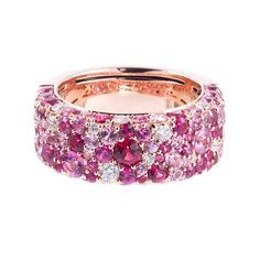 Contemporary Speckled Pink Sapphire Diamond Band | From a unique collection of vintage band rings at http://www.1stdibs.com/jewelry/rings/band-rings/