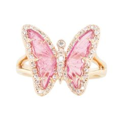 14kt rose gold and diamond pink tourmaline butterfly ring **this ring is one-of-a-kind** ** Pink Tourmaline helps calm and soothe the heart. It's been said wearing pink tourmaline throughout the day c