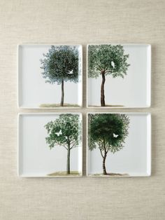 Square Plates - Bird in a tree -