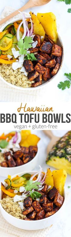 BBQ Tofu Bowls (on Fit Mitten Kitchen!) Vegan Hawaiian BBQ Tofu Bowls packed with flavor and crispy tofu! [Guest post by Emilie Eats]Vegan Hawaiian BBQ Tofu Bowls packed with flavor and crispy tofu! [Guest post by Emilie Eats] Veggie Recipes, Whole Food Recipes, Cooking Recipes, Healthy Recipes, Recipes With Tofu, Vegan Tofu Recipes, Cooking Tips, Picnic Recipes, Picnic Ideas
