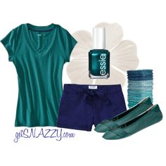 """""""Turquoise & Navy - Summer Casual"""" by getsnazzy on Polyvore"""