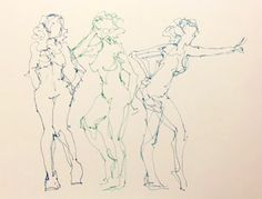 Three Linear Nudes - original ink drawing of nudes