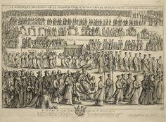 « La magnifique procession de la châsse de Sainte Geneviève patronne de Paris faite le 11 juin 1652 pour la paix. » (pour mettre fin aux troubles de la Fronde). Gravure  à l'eau-forte de 1652 par Nicolas Cochin (1610 † 1686).