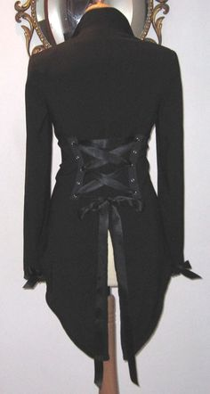 Victorian Corset Jacket Tux Tailcoat Steampunk Vampire Goth Tuxedo Tails DIY 18/20 UK plus size on Etsy, $61.82
