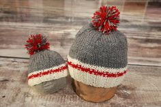 "Hand Knitted ""Work Sock Style"", Hat, Grey,, Red, M or F, Kids and adult"