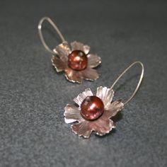 Flower Earrings in Sterling with Brown Pearls on by MetalLuxe