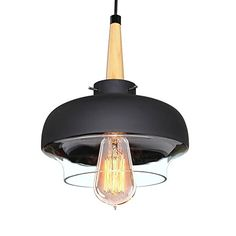 LNC Vintage Industrial Pendant Light Glass Metal Shade Ce...