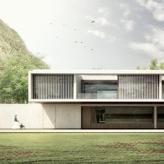 Cut out roof at dining for winter sun. break length of facade. Residential Architecture, Contemporary Architecture, Interior Architecture, Contemporary Design, Facade Design, Exterior Design, Modern Exterior, Concrete Houses, Architecture Visualization