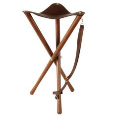 Wooden Folding Chair Stool Leather Seat Camping Fishing Hunting Tripod Stool #711gNg