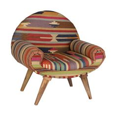 Desert Arm Chair in Vintage Kilim Take an armchair journey to India! Inspired by the kaleidoscopic jewel tones of the subcontinent with a dose of mid-century modern design, this cozy armchair celebrates color and function. Modern Furniture, Furniture Design, Black Armchair, Adirondack Chair Plans, Scandinavian Dining Chairs, Mid Century Modern Decor, Cafe Chairs, Dot And Bo, Home And Living