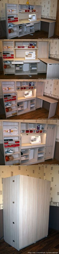 Sewing table diy storage 57 new Ideas Sewing Room Design, Sewing Room Storage, Sewing Room Organization, Craft Room Storage, Sewing Rooms, Diy Storage, Storage Spaces, Organizing Ideas, Storage Ideas
