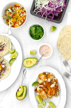 Healthy fish tacos - there are about a million ingredients here, which I don't do, but I want to try the topping/dressing part of it.