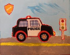 "Original collage of fabric on acrylic painting "" Police car"""