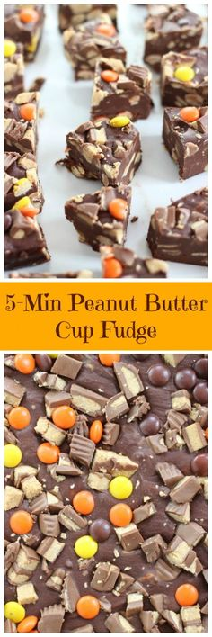 Chocolate frosting fudge LOADED with Reese's peanut butter cups and Reese's pieces! Ready in minutes!