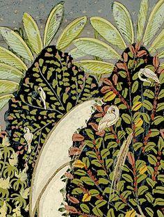 foliage with birds detaiL, Kedar rag Central India 18th C.