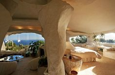 """Flintstones Style House In Malibu  This house would have Fred Flintstone screaming """"Yabba-Dabba-Do!"""" and calling for Wilma to come and admire the $3,500,000 landmark property; perched on remote headland in Malibu, the a one-of-a-kind retreat is a place of serene seclusion, yet is merely minutes from the beach below."""