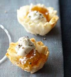 Goat cheese and fig jam in a crispy phyllo cup