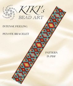 Pattern, peyote bracelet - Intense feeling peyote bracelet  pattern in PDF intant download