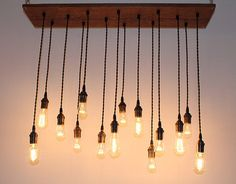 Repurposed Oak Industrial Hanging Light with Edison by urbanchandy eclectic ceiling lighting -