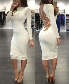 4577efcaed74 White Criss Cross Back Long Sleeve Midi Dress Bodycon Dress Parties