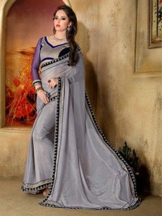 Grey Georgette Saree with Lace Work