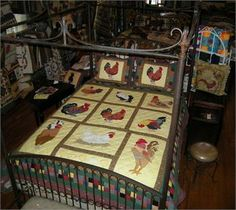 rooster quilt the white hen on a nest here