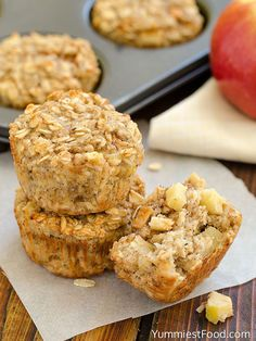 Apple Cinnamon Baked Oatmeal - Mash: 2 bananas, medium ripe beat in: 1 egg Add and stir to combine: 2C rolled oats, old fashioned ½C milk 1t baking powder & cinnamon Add: 1 apple peeled and diced Line muffin tin with 12 liners. Divide batter, 350º 15min