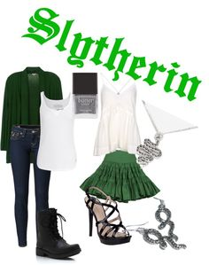 """""""Slytherin inspired fashion"""" by a-thorn-in-my-side Harry Potter Style, Harry Potter Outfits, Disney Themed Outfits, Inspired Outfits, Festival Stil, Slytherin Clothes, Fandom Fashion, Fandom Outfits, Outfit Trends"""