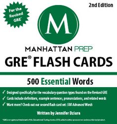 The Manhattan GRE Flash Cards are AWESOME. If you're studying for the GRE, you need to pick these up. We love going through them at the office too (but Taylor, our GRE Manager, seems to know them all already - so sometimes we don't invite him).