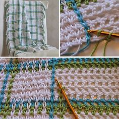 Crochet For Children: Woven Babyblanket on Mesh Ground (Free Pattern)Ravelry: Project Gallery for Woven Babyblanket on Mesh Ground pattern by Ateljé BohemianWoven Babyblanket on Mesh Ground - not exactly a full pattern (just the mesh) but should be Plaid Crochet, Crochet Motifs, Crochet Quilt, Crochet Stitches Patterns, Crochet Home, Baby Blanket Crochet, Crochet For Kids, Crochet Crafts, Crochet Yarn