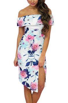 3b08b2c7dd White Random Floral Print Off Shoulder Layered Side Split Midi Dress